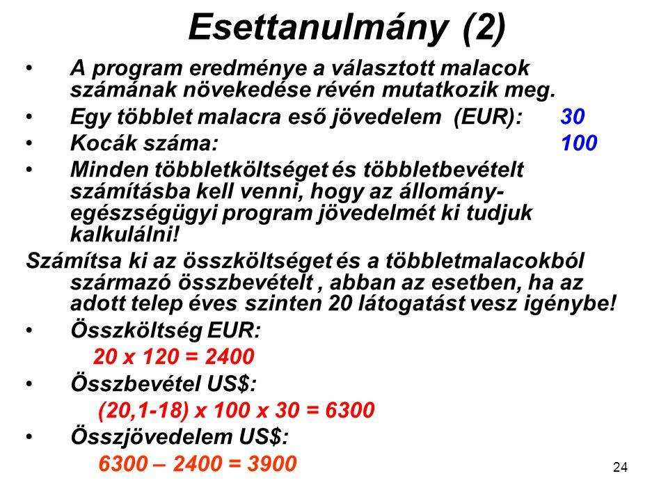 24 Esettanulmány (2) A program eredménye a választott malacok számának növekedése révén mutatkozik meg. Egy többlet malacra eső jövedelem (EUR): 30 Ko