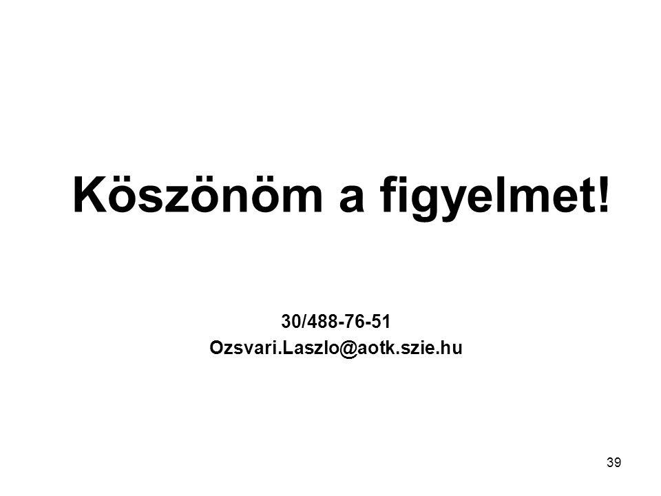 30/488-76-51 Ozsvari.Laszlo@aotk.szie.hu Köszönöm a figyelmet! 39