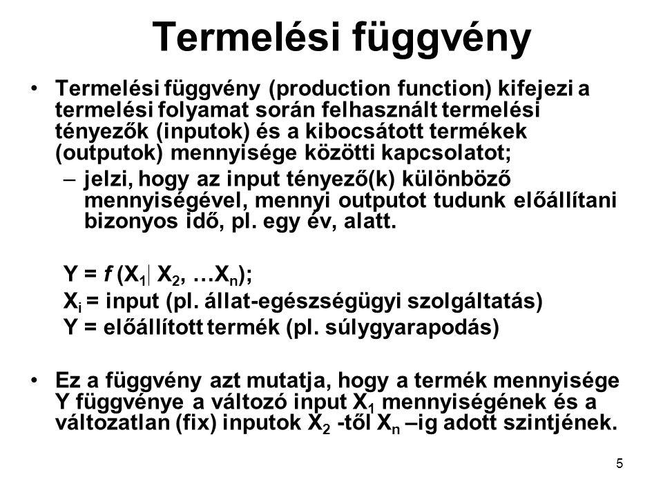 5 Termelési függvény Termelési függvény (production function) kifejezi a termelési folyamat során felhasznált termelési tényezők (inputok) és a kibocs