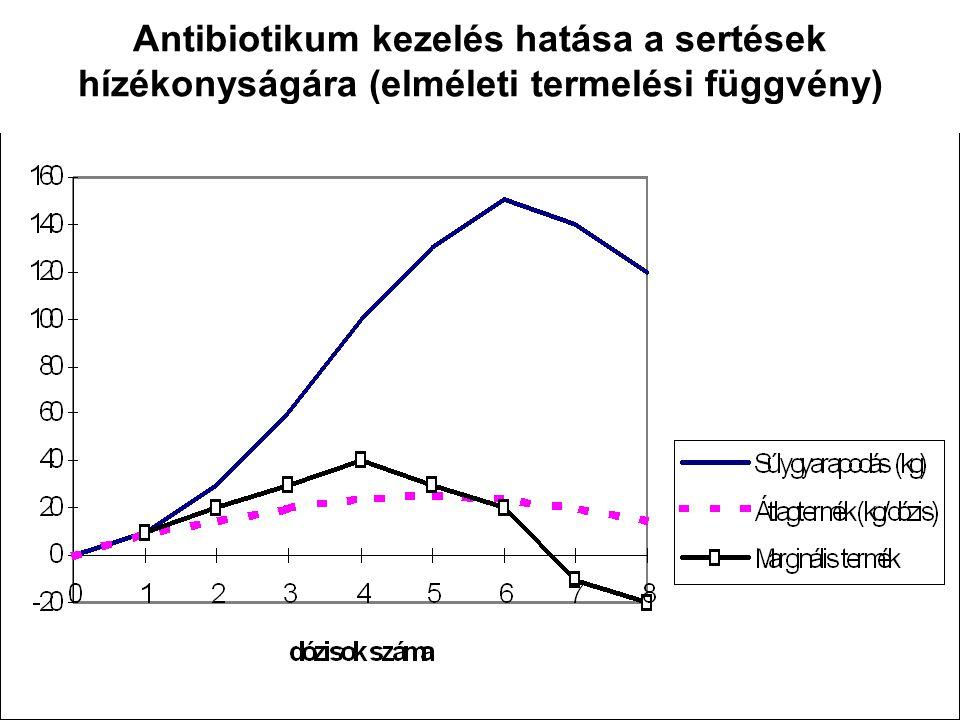 8 Antibiotikum kezelés hatása a sertések hízékonyságára (elméleti termelési függvény)