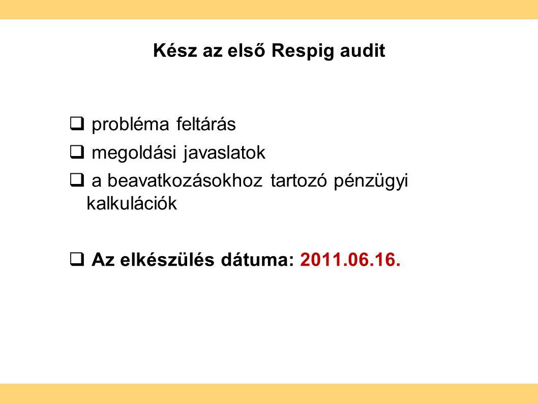Kész az első Respig audit  probléma feltárás  megoldási javaslatok  a beavatkozásokhoz tartozó pénzügyi kalkulációk  Az elkészülés dátuma: 2011.06.16.