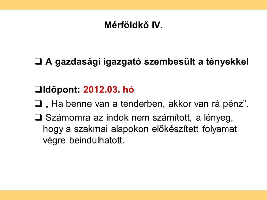 Mérföldkő IV.  A gazdasági igazgató szembesült a tényekkel  Időpont: 2012.03.