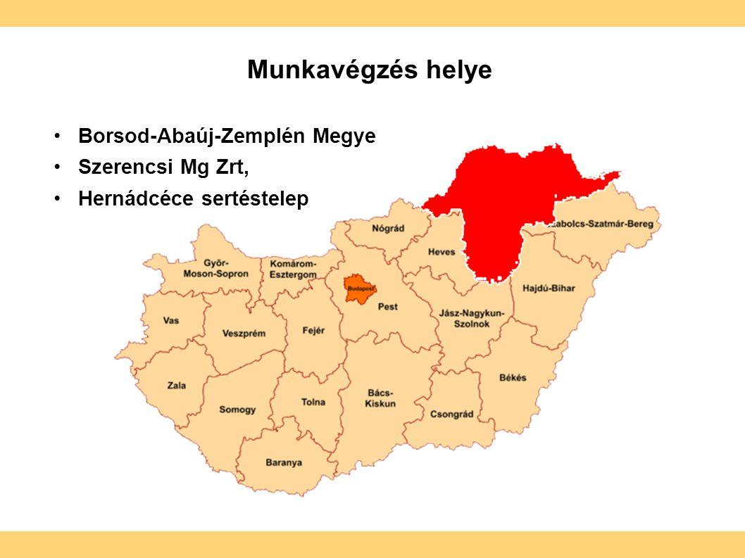 Munkavégzés helye Borsod-Abaúj-Zemplén Megye Szerencsi Mg Zrt, Hernádcéce sertéstelep