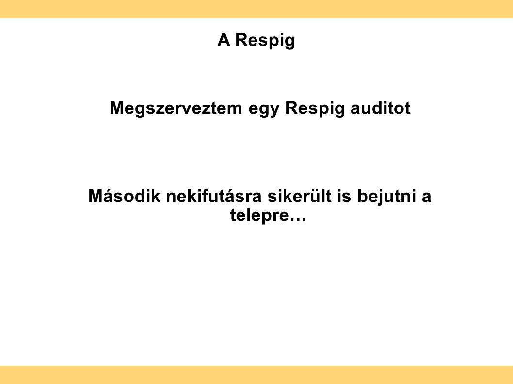 Megszerveztem egy Respig auditot Második nekifutásra sikerült is bejutni a telepre… A Respig