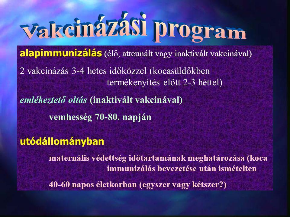 alapimmunizálás (élő, atteunált vagy inaktivált vakcinával) 2 vakcinázás 3-4 hetes időközzel (kocasüldőkben termékenyítés előtt 2-3 héttel) emlékeztető oltás (inaktivált vakcinával) vemhesség 70-80.