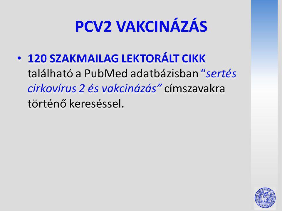 PCV2 VAKCINÁZÁS 120 SZAKMAILAG LEKTORÁLT CIKK található a PubMed adatbázisban sertés cirkovírus 2 és vakcinázás címszavakra történő kereséssel.