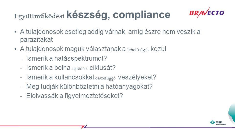 Együttműködési készség, compliance A tulajdonosok esetleg addig várnak, amíg észre nem veszik a parazitákat A tulajdonosok maguk választanak a lehetős