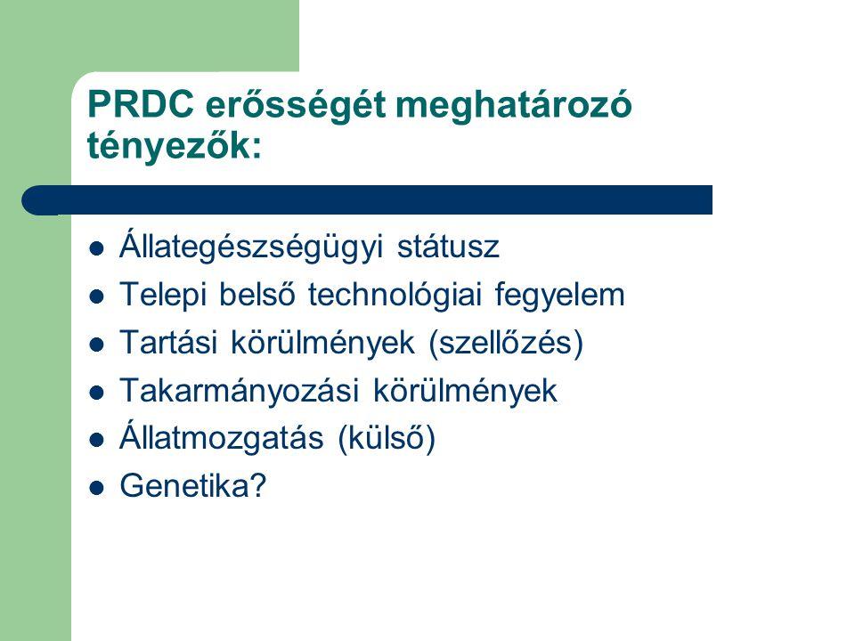 PRDC erősségét meghatározó tényezők: Állategészségügyi státusz Telepi belső technológiai fegyelem Tartási körülmények (szellőzés) Takarmányozási körül