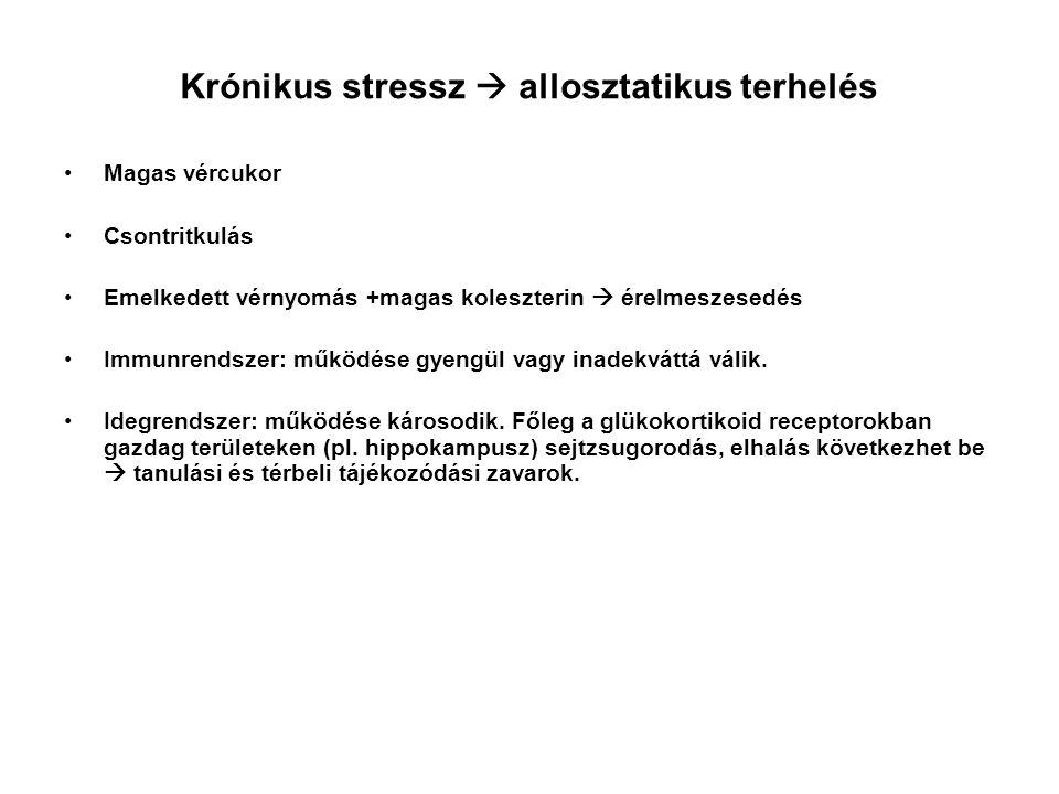 A krónikus stressz Ha sem menekülés, sem harc nem lehetséges.