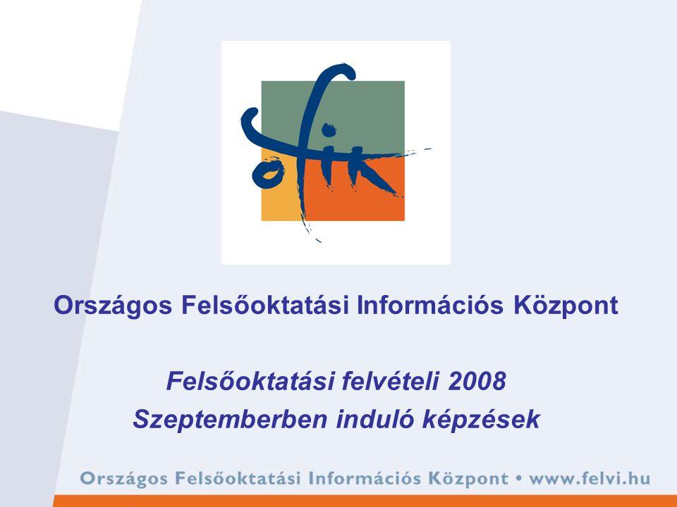 Országos Felsőoktatási Információs Központ Felsőoktatási felvételi 2008 Szeptemberben induló képzések