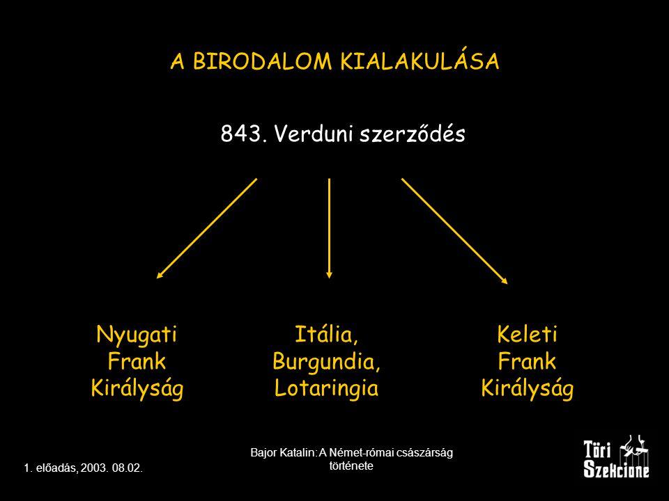 1.előadás, 2003. 08.02. Bajor Katalin: A Német-római császárság története KITEKINTÉS I.