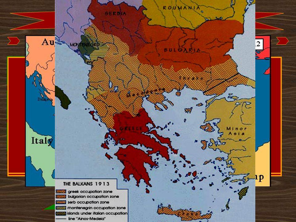 Kapcsolódó események 1908. Bosznia-Hercegovina annektálása átalakuló szövetségi rendszer 1912.okt-1913.máj. I. balkáni háború 1913.jún-júl. II. balkán