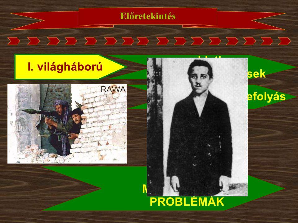 Előretekintés I. világháború megoldatlan nemzetiségi kérdések erős szerb befolyás MÁIG HATÓ, MEGOLDATLAN PROBLÉMÁK