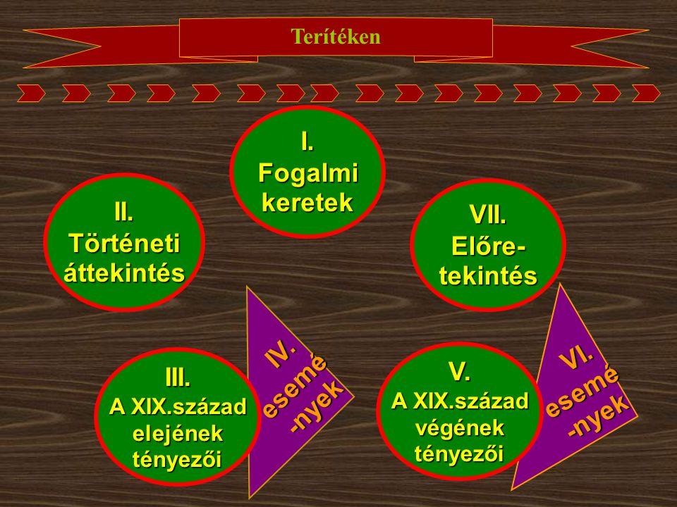 VI. VI.esemé-nyek IV. IV.esemé-nyek Terítéken I.Fogalmikeretek II.Történetiáttekintés III. A XIX.század elejénektényezői V. végénektényezői VII.Előre-