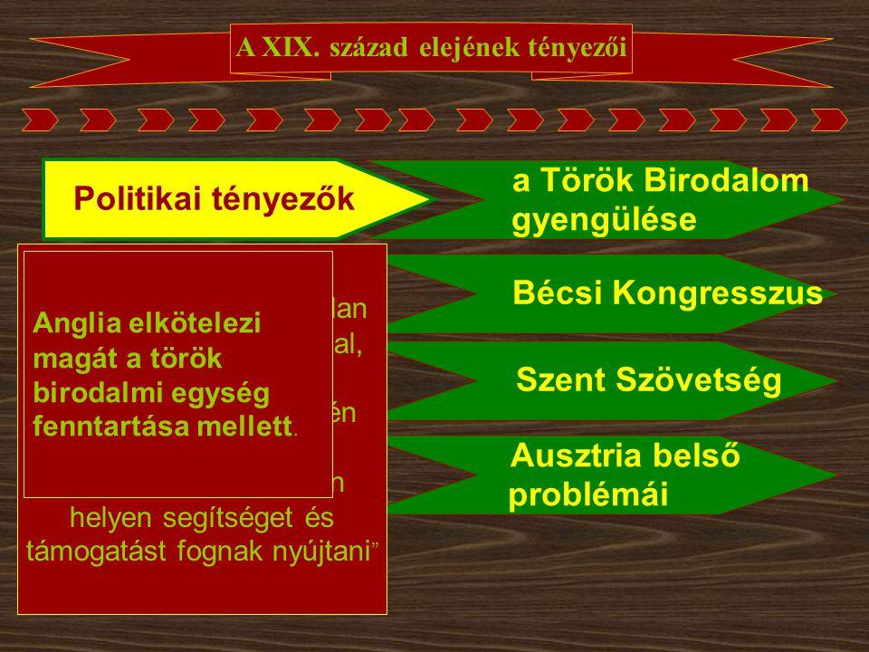 """A XIX. század elejének tényezői Politikai tényezők Bécsi Kongresszus Szent Szövetség Ausztria belső problémái a Török Birodalom gyengülése """"egy igaz é"""