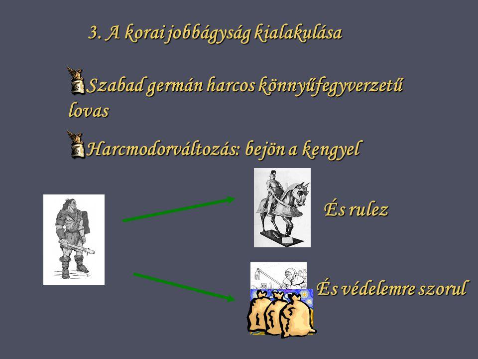 3. A korai jobbágyság kialakulása Szabad germán harcos könnyűfegyverzetű lovas Harcmodorváltozás: bejön a kengyel És védelemre szorul És rulez