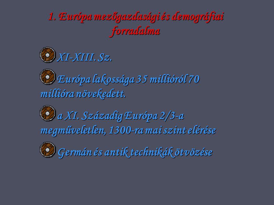 1.Európa mezőgazdasági és demográfiai forradalma XI-XIII.