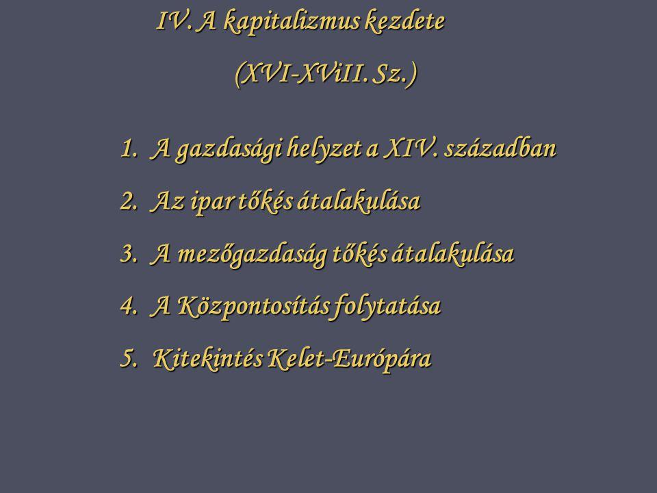 IV.A kapitalizmus kezdete (XVI-XViII. Sz.) 1.A gazdasági helyzet a XIV.