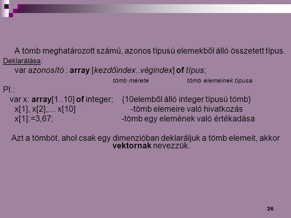 26 A tömb meghatározott számú, azonos típusú elemekből álló összetett típus. Deklarálása : var azonosító : array [kezdőindex..végindex] of típus; tömb