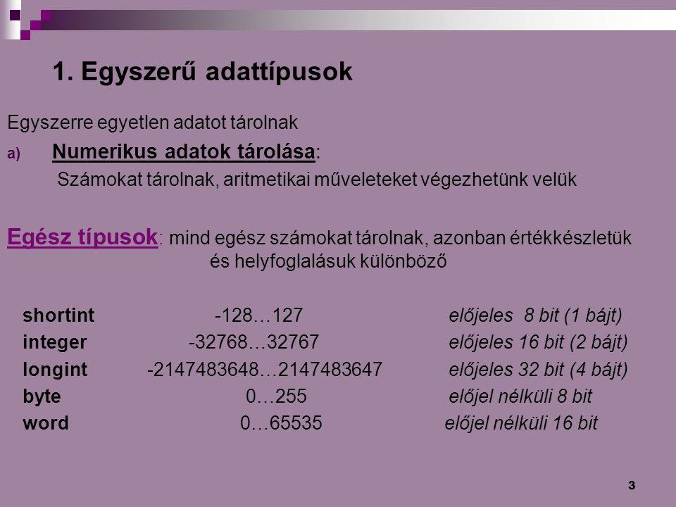 3 1. Egyszerű adattípusok Egyszerre egyetlen adatot tárolnak a) Numerikus adatok tárolása: Számokat tárolnak, aritmetikai műveleteket végezhetünk velü