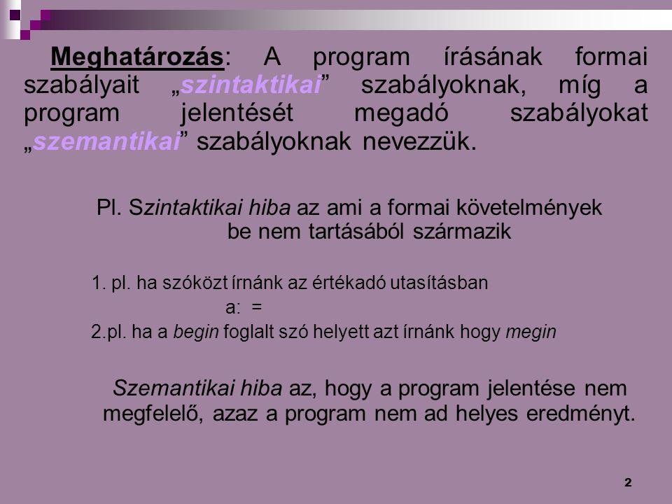 """2 Meghatározás: A program írásának formai szabályait """"szintaktikai"""" szabályoknak, míg a program jelentését megadó szabályokat """"szemantikai"""" szabályokn"""