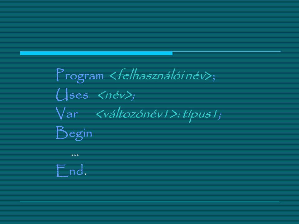3.Végrehajtó rész -A Begin foglalt szóval kezd ő dik és az End foglalt szóval végz ő dik.