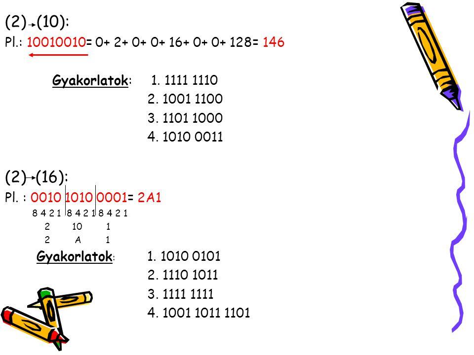 (2)(10): Pl.: 10010010= 0+ 2+ 0+ 0+ 16+ 0+ 0+ 128= 146 Gyakorlatok: 1. 1111 1110 2. 1001 1100 3. 1101 1000 4. 1010 0011 (2) (16): Pl. : 0010 1010 0001