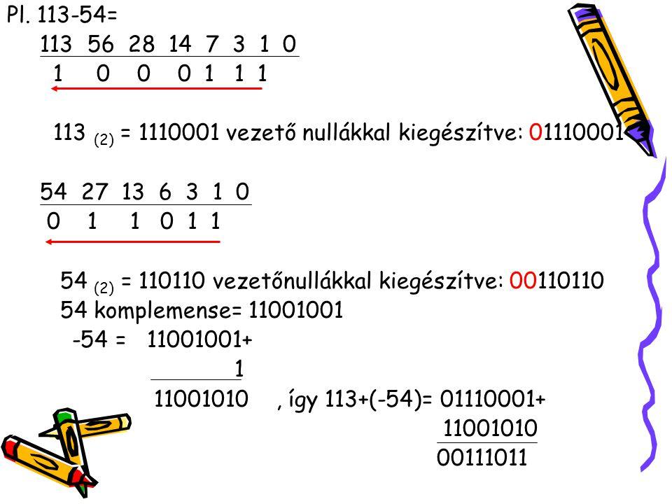Pl. 113-54= 113 56 28 14 7 3 1 0 1 0 0 0 1 1 1 113 (2) = 1110001 vezető nullákkal kiegészítve: 01110001 54 27 13 6 3 1 0 0 1 1 0 1 1 54 (2) = 110110 v