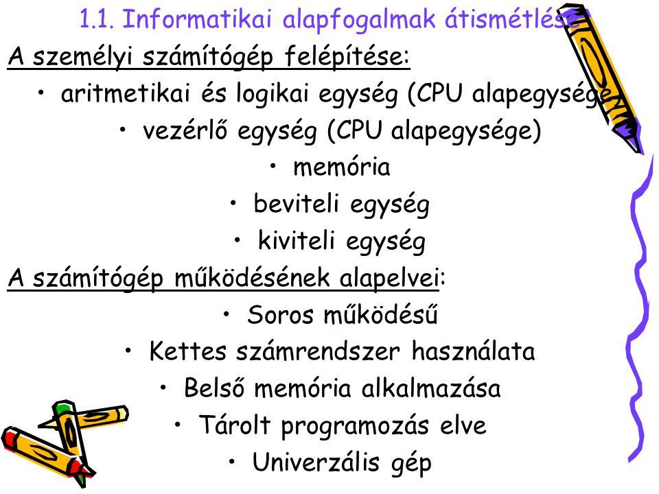 1.1. Informatikai alapfogalmak átismétlése A személyi számítógép felépítése: aritmetikai és logikai egység (CPU alapegysége) vezérlő egység (CPU alape