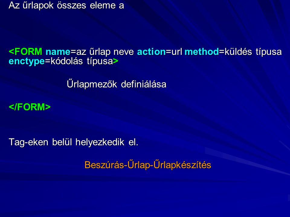 ACTION= az űrlap elküldésekor végrehajtandó feladat, melyet az URL segítségével adhatunk meg.
