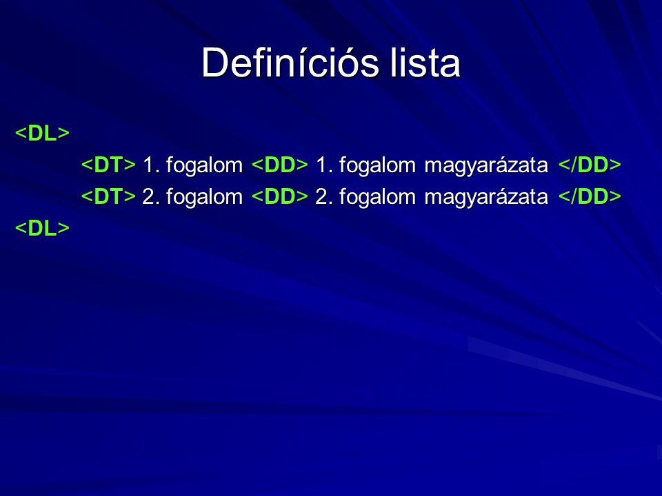 Definíciós lista 1. fogalom 1. fogalom magyarázata 1. fogalom 1. fogalom magyarázata 2. fogalom 2. fogalom magyarázata 2. fogalom 2. fogalom magyaráza