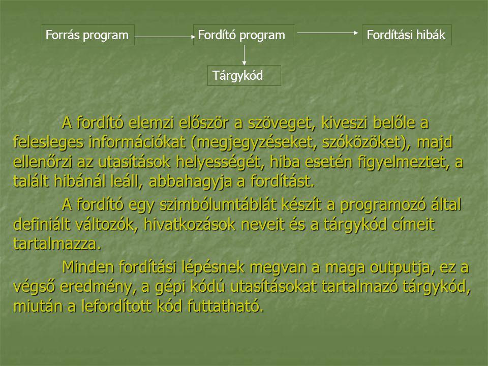 A fordító elemzi először a szöveget, kiveszi belőle a felesleges információkat (megjegyzéseket, szóközöket), majd ellenőrzi az utasítások helyességét, hiba esetén figyelmeztet, a talált hibánál leáll, abbahagyja a fordítást.