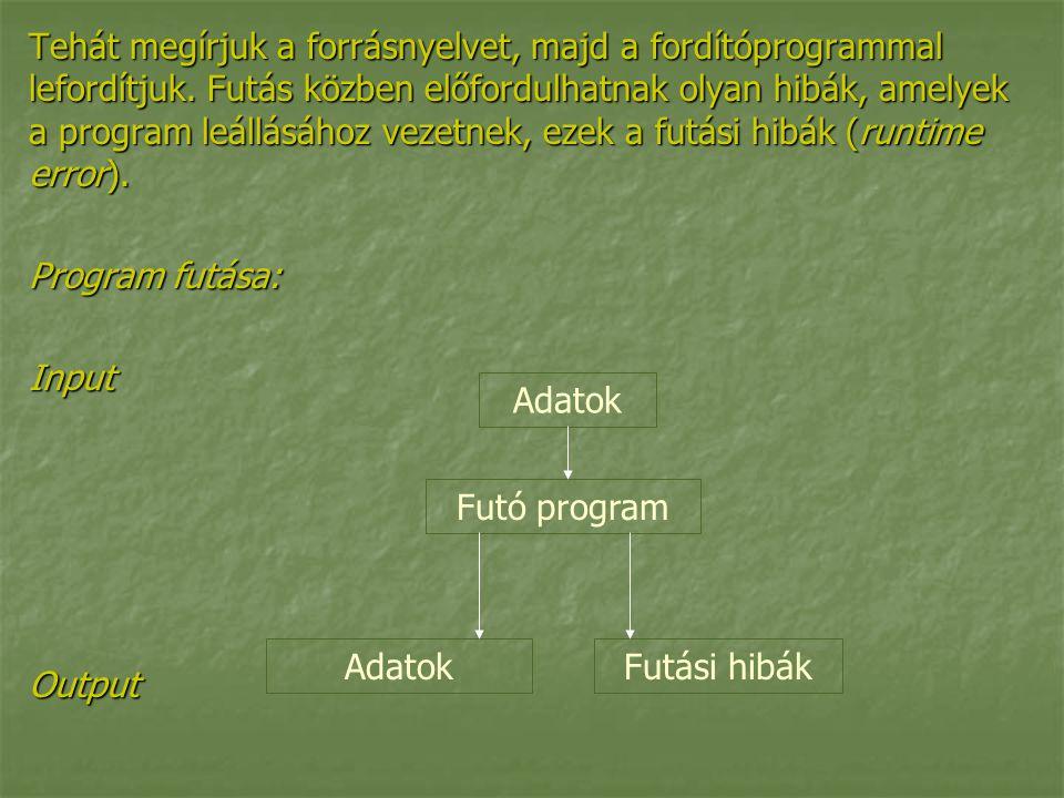 Tehát megírjuk a forrásnyelvet, majd a fordítóprogrammal lefordítjuk. Futás közben előfordulhatnak olyan hibák, amelyek a program leállásához vezetnek
