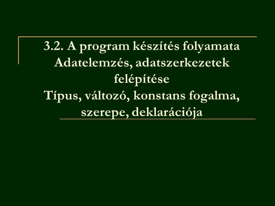3.2. A program készítés folyamata Adatelemzés, adatszerkezetek felépítése Típus, változó, konstans fogalma, szerepe, deklarációja