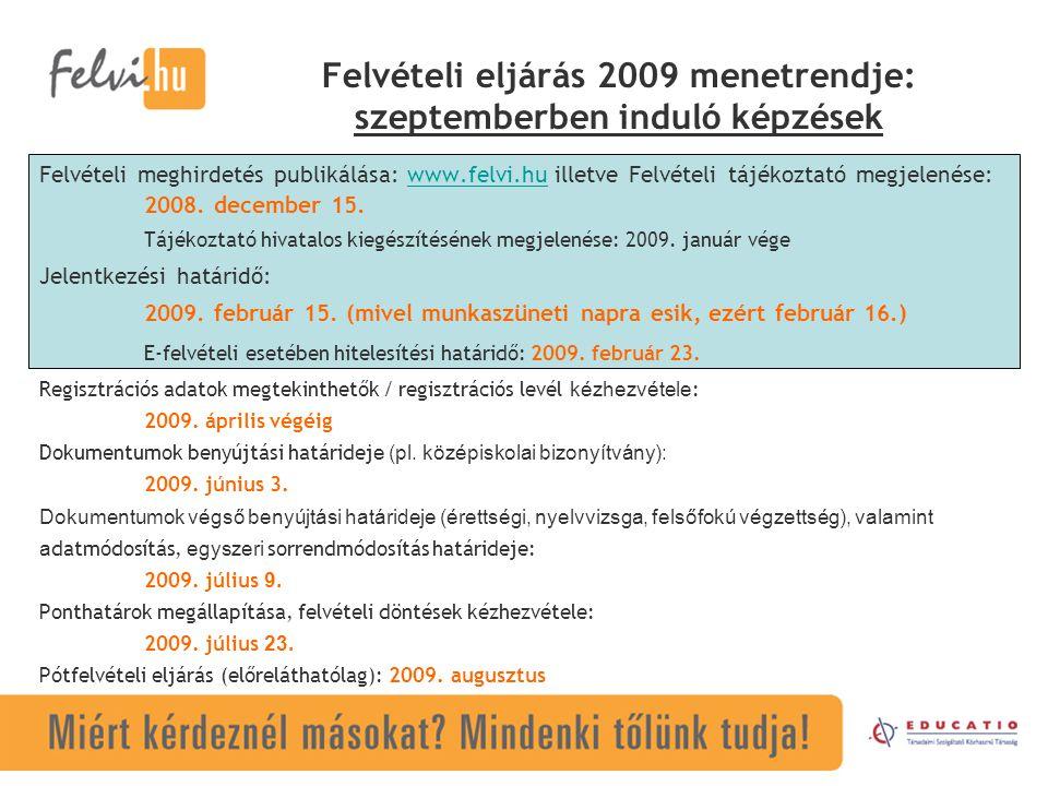 Felvételi eljárás 2009 menetrendje: szeptemberben induló képzések Felvételi meghirdetés publikálása: www.felvi.hu illetve Felvételi tájékoztató megjelenése:www.felvi.hu 2008.