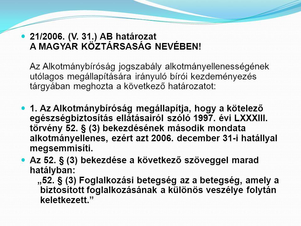 21/2006. (V. 31.) AB határozat A MAGYAR KÖZTÁRSASÁG NEVÉBEN! Az Alkotmánybíróság jogszabály alkotmányellenességének utólagos megállapítására irányuló