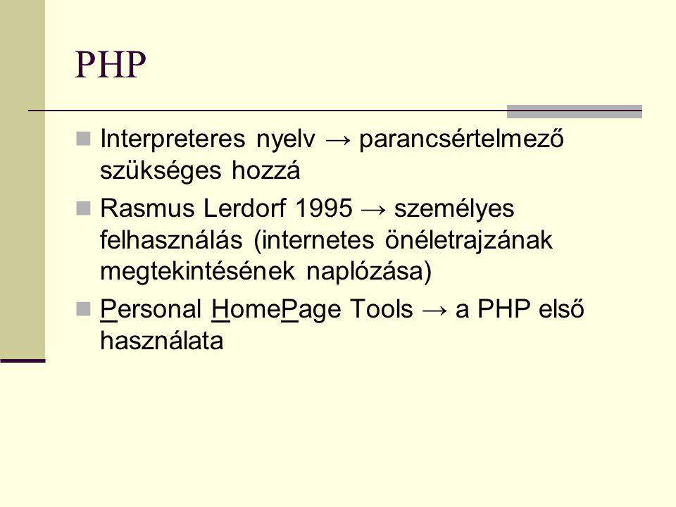 PHP Interpreteres nyelv → parancsértelmező szükséges hozzá Rasmus Lerdorf 1995 → személyes felhasználás (internetes önéletrajzának megtekintésének nap