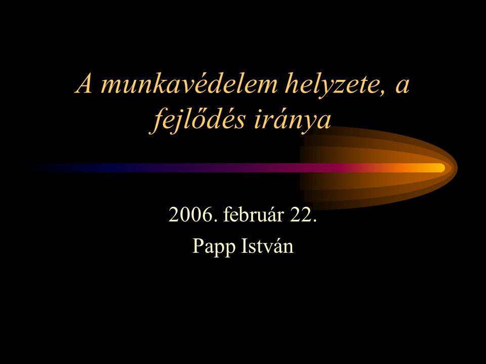 A munkavédelem helyzete, a fejlődés iránya 2006. február 22. Papp István