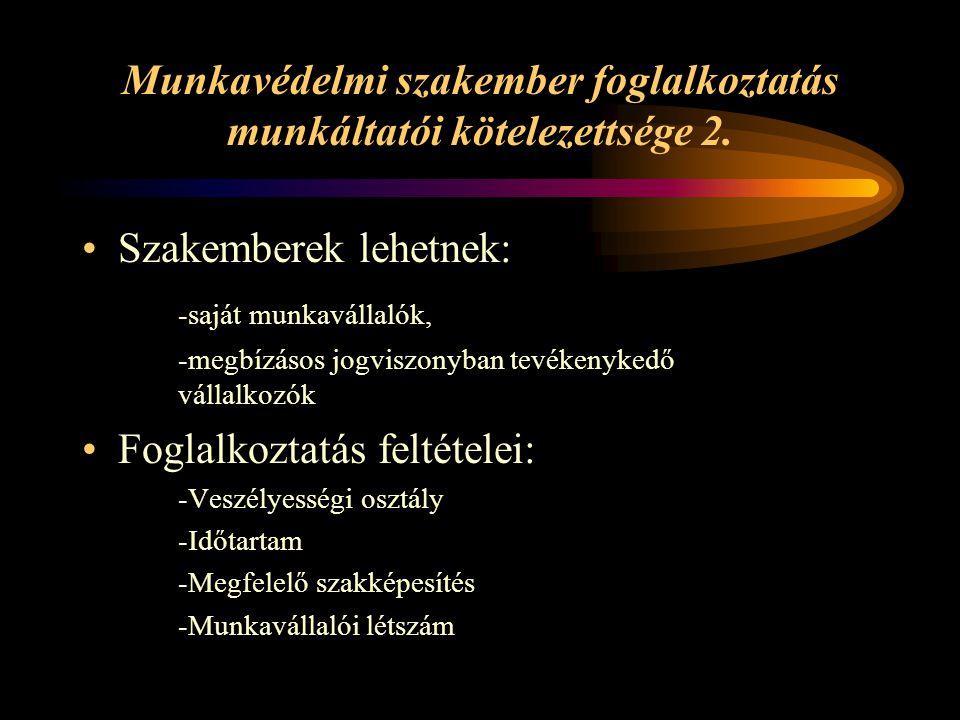 Munkavédelmi szakember foglalkoztatás munkáltatói kötelezettsége 2.