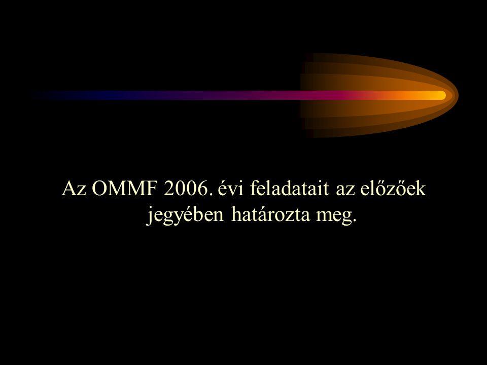 Az OMMF 2006. évi feladatait az előzőek jegyében határozta meg.