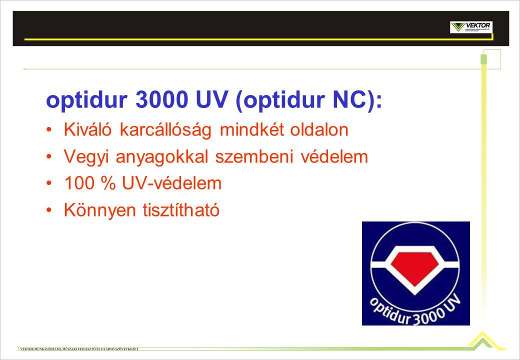 optidur 3000 UV (optidur NC): Kiváló karcállóság mindkét oldalon Vegyi anyagokkal szembeni védelem 100 % UV-védelem Könnyen tisztítható