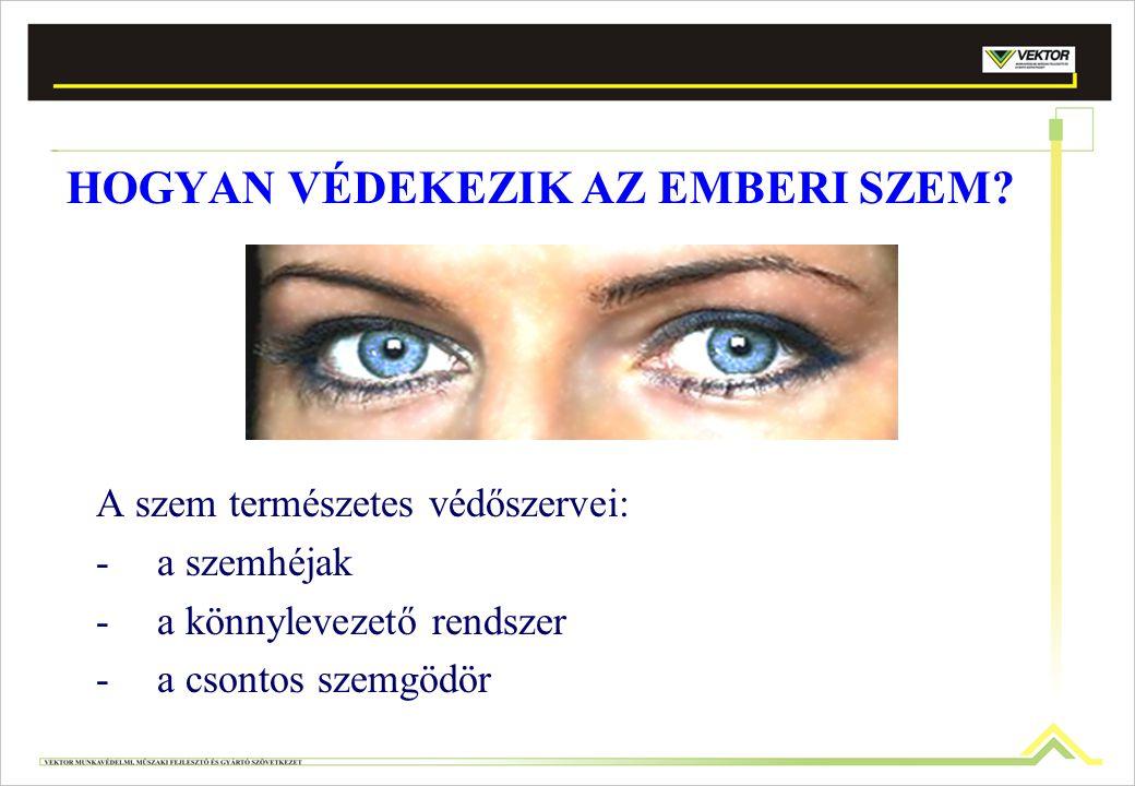 Folyékony alumínium által okozott szemgyulladás (mechanikai) Mész által okozott marás (vegyi) Súlyos szemgyulladás (optikai) Szemlencsébe került szilánk által okozott sérülés (mechanikai) vegyi anyagok által okozott sérülés (savak, lúgok, gázok, gőzök, pára, füst) mechanikai sérülés (por, idegen testek) optikai sérülés (UV- und infravörös sugárzás, vakító fény) A természetes védekezés nem mindig elegendő!