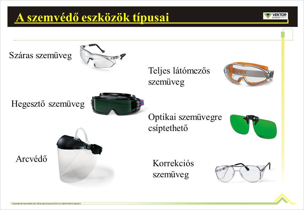 Száras szemüveg Teljes látómezős szemüveg Hegesztő szemüveg Arcvédő Optikai szemüvegre csíptethető A szemvédő eszközök típusai Korrekciós szemüveg