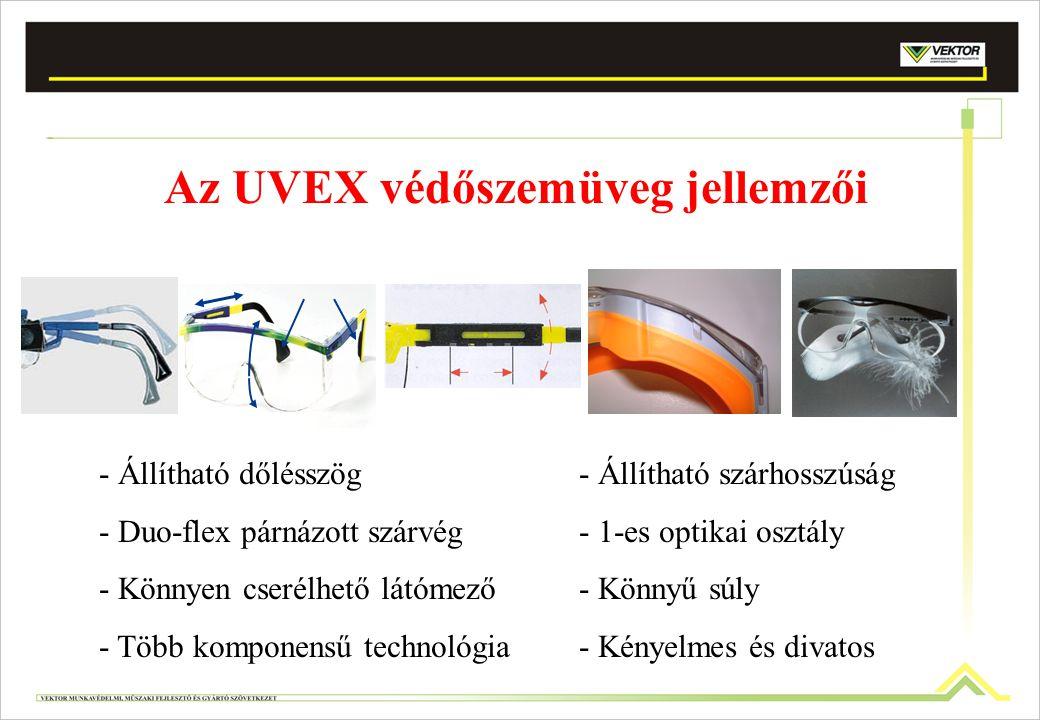 Az UVEX védőszemüveg jellemzői - Állítható dőlésszög- Állítható szárhosszúság - Duo-flex párnázott szárvég- 1-es optikai osztály - Könnyen cserélhető