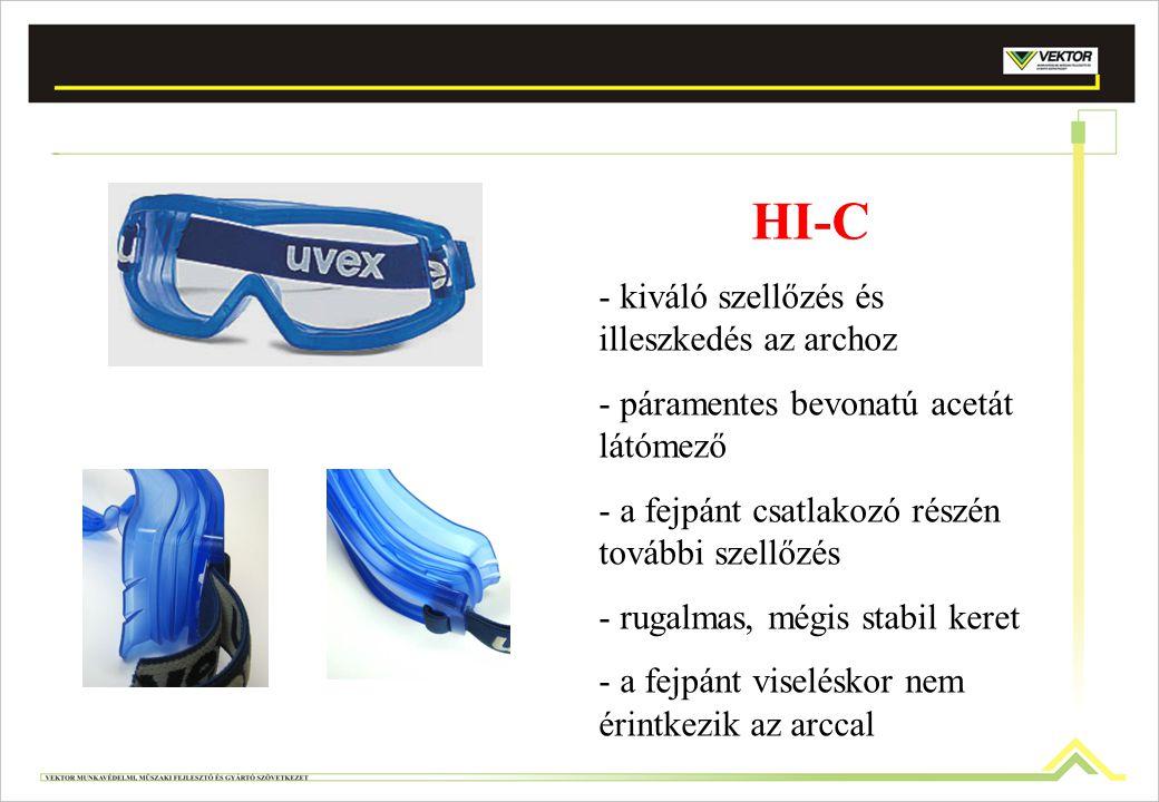 HI-C - kiváló szellőzés és illeszkedés az archoz - páramentes bevonatú acetát látómező - a fejpánt csatlakozó részén további szellőzés - rugalmas, még