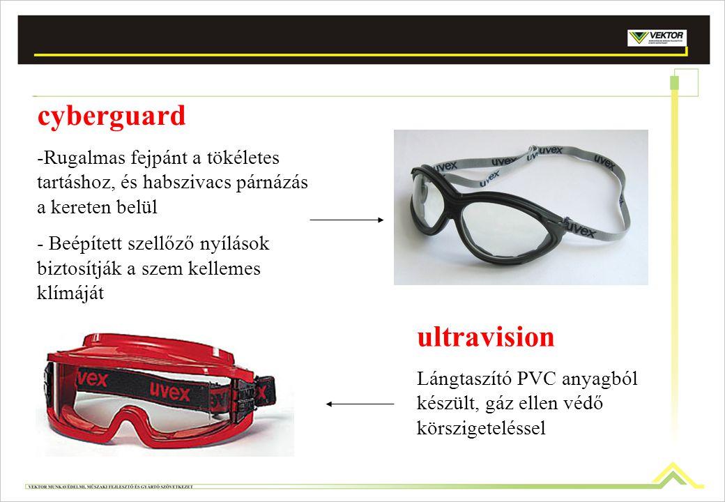 cyberguard -Rugalmas fejpánt a tökéletes tartáshoz, és habszivacs párnázás a kereten belül - Beépített szellőző nyílások biztosítják a szem kellemes k