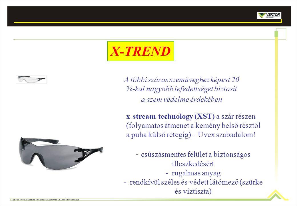X-TREND A többi száras szemüveghez képest 20 %-kal nagyobb lefedettséget biztosít a szem védelme érdekében x-stream-technology (XST) a szár részen (fo