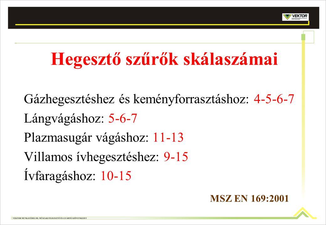 Hegesztő szűrők skálaszámai Gázhegesztéshez és keményforrasztáshoz: 4-5-6-7 Lángvágáshoz: 5-6-7 Plazmasugár vágáshoz: 11-13 Villamos ívhegesztéshez: 9