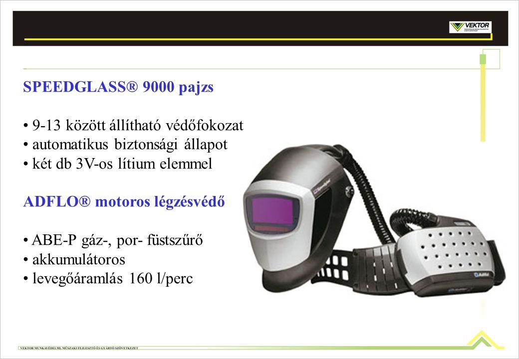 SPEEDGLASS® 9000 pajzs 9-13 között állítható védőfokozat automatikus biztonsági állapot két db 3V-os lítium elemmel ADFLO® motoros légzésvédő ABE-P gá