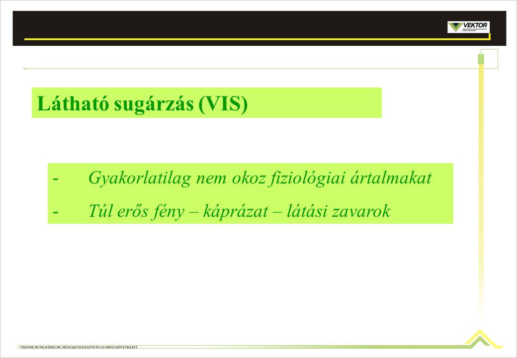 Látható sugárzás (VIS) -Gyakorlatilag nem okoz fiziológiai ártalmakat -Túl erős fény – káprázat – látási zavarok